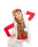 Kid girl with snow winter glasses and white fur Royalty Free Stock Photography