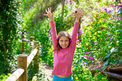 Kid girl in spring track in Cuenca forest of Spain Stock Images