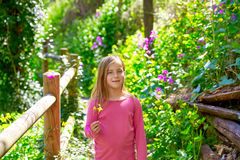 Kid girl in spring track in Cuenca forest of Spain Stock Photos