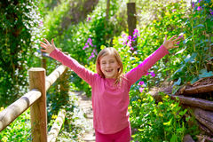 Kid girl in spring track in Cuenca forest of Spain Stock Image