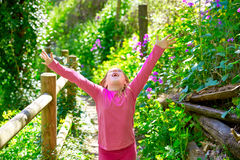 Kid girl in spring track in Cuenca forest of Spain Stock Photography