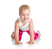 Kid girl standing on all fours Royalty Free Stock Photos