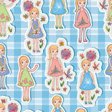 Kid girl sticker cute seamless pattern Royalty Free Stock Photography