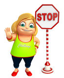 Kid girl with Stop board Stock Photo