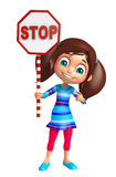 Kid girl with Stop sign Royalty Free Stock Photo
