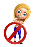 Kid girl with Stop sign Stock Image