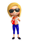 Kid girl with Sunglass and soft drink popcorn Royalty Free Stock Photography
