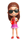 Kid girl with Sunglass and soft drink popcorn Royalty Free Stock Photos