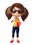 Kid girl with Sunglass and soft drink popcorn Stock Photo