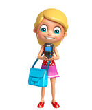 Kid girl with Swap machine and schoolbag Stock Image