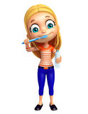 Kid girl with Tooth brush and paste Stock Photos