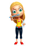 Kid girl with Tooth brush and paste Stock Photography