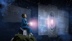 Kid Girl Using Modern Technologies Stock Photo