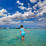 Kid girl walking at Formetera in Estany des Peix Royalty Free Stock Photography