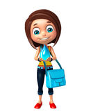 Kid girl with Water drop and school bag. 3d rendered illustration of kid girl with Water drop and school bag Stock Photos