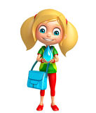 Kid girl with Water drop and school bag. 3d rendered illustration of kid girl with Water drop and school bag Royalty Free Stock Photos