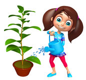 Kid girl with Watering can and plant Royalty Free Stock Images