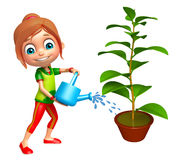 Kid girl with Watering can and plant Stock Images