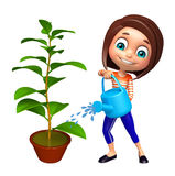 Kid girl with Watering can and plant Royalty Free Stock Image