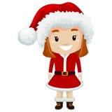 Kid Girl wearing Santa Claus Costume vector illustration