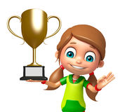 Kid girl with Winning cup Royalty Free Stock Photography