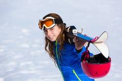 Kid girl winter snow with ski equipment Stock Photography