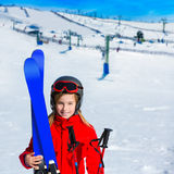 Kid girl winter snow with ski equipment Stock Images