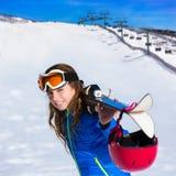 Kid girl winter snow with ski equipment Royalty Free Stock Photo