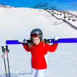 Kid girl winter snow with ski equipment Stock Photos