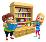 Kid girls with book shelves Royalty Free Stock Photos