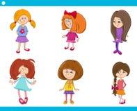 Kid girls characters cartoon set Stock Images