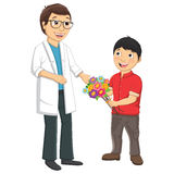 Kid Give Flower To Teacher Vector Illustration