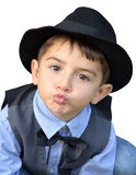 Kid gives a kiss Stock Images