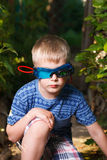 Kid in glasses and shirt looks like spy Royalty Free Stock Image