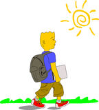 Kid Goes To School 2. Kid wearing blue shirt, brown pants and red sneakers walks to school carrying his backpack and a file, on a sunny day Stock Photos
