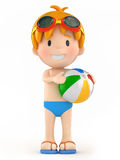 Kid with goggles and inflatable ball Royalty Free Stock Photos