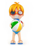 Kid with goggles and inflatable ball Royalty Free Stock Image
