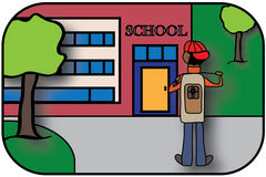 Kid Going to School Illustration Stock Images