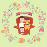 Kid with golden retriever dog on the sofa with intage flower wreath Royalty Free Stock Photography