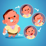Kid got cold in action. sneeze. character design - vector royalty free illustration