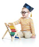 Kid in graduation cap and glasses with colorful Royalty Free Stock Photography