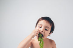 Kid grapeholding close up Stock Images
