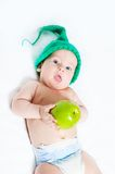 The kid in a green cap Stock Photography
