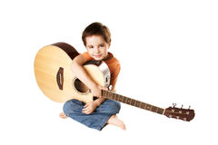 Kid with guitar Royalty Free Stock Image
