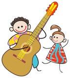 Kid guitarist. Isolated line art cartoon image Royalty Free Stock Image