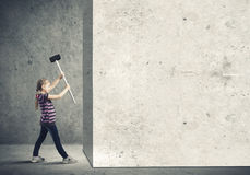 Kid with hammer Stock Photography