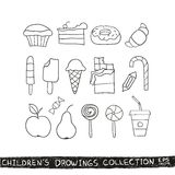 Kid hand drawing tasty food collection Royalty Free Stock Photography