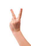 Kid hand forming victory sign Stock Photos
