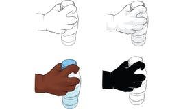 Kid hand holding bottle of water, hand activity vector stock illustration