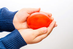 Kid Hand Holding Red Easter Egg Stock Photography